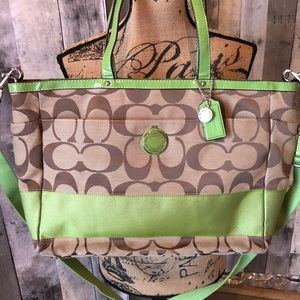 Coach Signature Diaper Bag Tote Purse Khaki Green